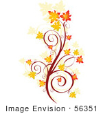 #56351 Royalty-Free (RF) Clip Art Illustration Of An Autumn Floral Scroll With Orange Fall Leaves by pushkin