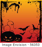 #56353 Royalty-Free (Rf) Clip Art Illustration Of A Grungy Halloween Background With Splatters Bats And Dark Pumpkins