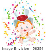#56354 Royalty-Free (Rf) Clip Art Illustration Of A Cute Strawberry Blond New Year Baby Wearing A Gold Sash And Hat Surrounded By Confetti by pushkin