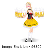 #56355 Royalty-Free (Rf) Clip Art Illustration Of A Beautiful Blond Oktoberfest Lady Serving Beers With Copyspace