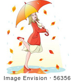 #56356 Royalty-Free (Rf) Clip Art Illustration Of A Blond Woman Dancing In Autumn Rain Under An Umbrella