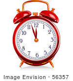 #56357 Royalty-Free (Rf) Clip Art Illustration Of A Red Shiny Alarm Clock