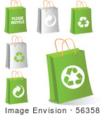 #56358 Royalty-Free (Rf) Clip Art Illustration Of A Digital Collage Of Gray And Green Eco Shopping Bags