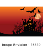 #56359 Royalty-Free (Rf) Clip Art Illustration Of Bats Tombstones And A Haunted House Silhouetted Under An Orange Full Moon Sky