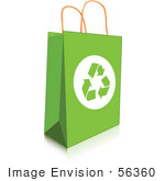 #56360 Royalty-Free (Rf) Clip Art Illustration Of A Green Recycled Shopping Bag With Recycle Arrows