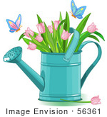 #56361 Clip Art Illustration Of Butterflies Landing On Pink Tulips In A Watering Can
