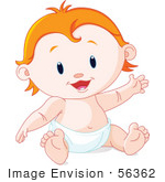 #56362 Royalty-Free (Rf) Clip Art Illustration Of A Happy Strawberry Blond Baby Sitting In A Diaper