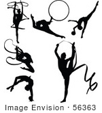 #56363 Royalty-Free (Rf) Clip Art Illustration Of A Digital Collage Of Black Gymnastics Silhouettes