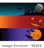 #56364 Royalty-Free (Rf) Clip Art Illustration Of A Digital Collage Of Three Blank Halloween Website Headers; Cemetery Pumpkin Face And Bats