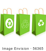 #56365 Royalty-Free (Rf) Clip Art Illustration Of A Digital Collage Of Three Green Recycled Gift Or Shopping Bags