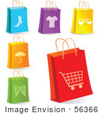 #56366 Royalty-Free (Rf) Clip Art Illustration Of A Digital Collage Of Retail Shopping Bags