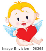 #56368 Royalty-Free (Rf) Clip Art Illustration Of A Blond Baby Cupid Holding A Red Heart