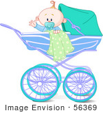 #56369 Clip Art Illustration Of A Waving Baby Boy With A Blanket And Pacifier In A Carriage