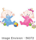 #56372 Royalty-Free (Rf) Clip Art Illustration Of A Baby Boy And Girl Waving And Playing With Toys