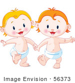 #56373 Royalty-Free (Rf) Clip Art Illustration Of Blond And Strawberry Blond Babies Holding Hands And Walking In Diapers