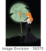 #56375 Royalty-Free (Rf) Clip Art Illustration Of A Sexy Halloween Witch And Black Cat On A Grassy Hill Against A Full Moon With Bats