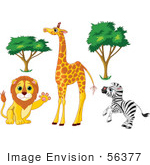 #56377 Royalty-Free (Rf) Clip Art Illustration Of A Digital Collage Of African Trees And Animals; Friendly Lion Tall Giraffe And Rearing Zebra