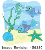 #56380 Royalty-Free (RF) Clip Art Illustration Of A Sea Snail, Starfish, Fish And Seahorse With Bubbles Under The Sea, With A White Border by pushkin