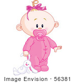 #56381 Royalty-Free (Rf) Clip Art Illustration Of A Baby Girl Dragging A Stuffed Bunny