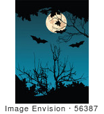 #56387 Royalty-Free (Rf) Clip Art Illustration Of A Dark Blue Background With A Full Moon Bats And Silhouetted Branches