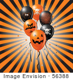 #56388 Royalty-Free (Rf) Clip Art Illustration Of A Bursting Black And Orange Background With Halloween Party Balloons