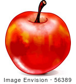 #56389 Royalty-Free (Rf) Clip Art Illustration Of A Shiny Waxed Red Apple With A Stem On A White Background