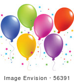 #56391 Royalty-Free (Rf) Clip Art Illustration Of A Colorful Group Of Balloons Floating With Star Shaped Confetti