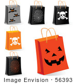 #56393 Royalty-Free (Rf) Clip Art Illustration Of A Digital Collage Of Halloween Shopping Bags