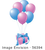 #56394 Royalty-Free (Rf) Clip Art Illustration Of A Birthday Gift Floating Away With Matching Balloons