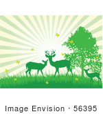 #56395 Royalty-Free (Rf) Clip Art Illustration Of A Bursting Sky Behind Green Silhouetted Deer With Yellow Butterflies
