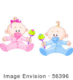 #56396 Royalty-Free (Rf) Clip Art Illustration Of A Baby Boy And Girl Playing With Rattles