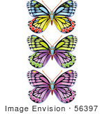 #56397 Royalty-Free (Rf) Clip Art Illustration Of A Digital Collage Of Three Colorful Butterfly Bugs