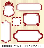#56399 Royalty-Free (Rf) Clip Art Illustration Of A Digital Collage Of Red Frames On Stripes