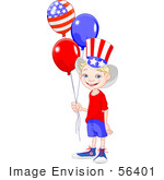#56401 Clip Art Illustration Of A Happy American Boy Wearing The Stars And Stripes Holding Patriotic Balloons