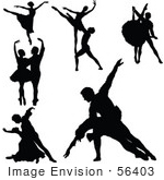 #56403 Royalty-Free (Rf) Clip Art Illustration Of A Digital Collage Of Black Dancing People Silhouettes