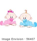 #56407 Clip Art Illustration Of A Twin Baby Boy And Girl With Pacifiers Trying To Crawl