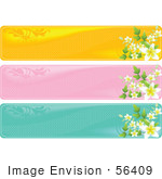 #56409 Royalty-Free (Rf) Clip Art Illustration Of A Digital Collage Of Three Floral Headers