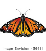 #56411 Royalty-Free (Rf) Clip Art Illustration Of A Spanned Orange Monarch Butterfly