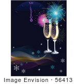 #56413 Royalty-Free (Rf) Clip Art Illustration Of Two Champagne Glasses Under Fireworks On A Dark Background With Waves Snowflakes And A New Year Clock