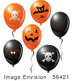 #56421 Royalty-Free (Rf) Clip Art Illustration Of A Digital Collage Of Halloween Party Balloons