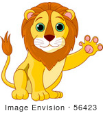 #56423 Royalty-Free (Rf) Clip Art Illustration Of A Friendly Male Lion Waving His Paw