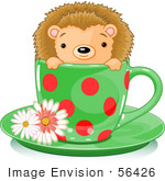 #56426 Clip Art Illustration Of An Adorable Hedgehog In A Green And Red Polka Dotted Tea Cup