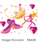 #56428 Royalty-Free (Rf) Clip Art Illustration Of A Digital Collage Of Heart Gems A Tiara Magic Wand And Slippers