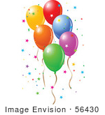 #56430 Royalty-Free (Rf) Clip Art Illustration Of Colorful Party Balloons Floating With Star Confetti