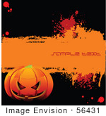 #56431 Royalty-Free (Rf) Clip Art Illustration Of A Grungy Black And Orange Halloween Pumpkin Background With Sample Text For Visual Purposes