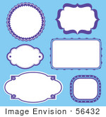 #56432 Royalty-Free (Rf) Clip Art Illustration Of A Digital Collage Of Purple Frames On Blue