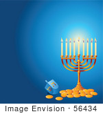 #56434 Royalty-Free (Rf) Clip Art Illustration Of A Glowing Hanukkah Menorah With Gold Coins On A Blue Background