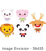 #56435 Royalty-Free (Rf) Clip Art Illustration Of A Digital Collage Of Cute Animals With Big Heads; Polar Bear Pig Lion Panda And Rudolph