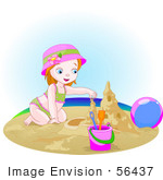 #56437 Royalty-Free (Rf) Clip Art Illustration Of A Small Girl Building A Sand Castle On A Beach