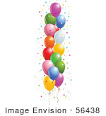 #56438 Royalty-Free (Rf) Clip Art Illustration Of A Side Border Of Colorful Floating Party Balloons With Star Confetti